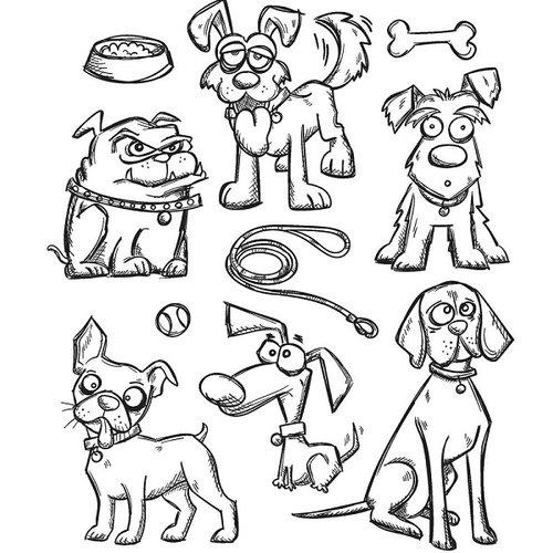 Stampers Anonymous - Tim Holtz - Cling Mounted Rubber Stamp Set - Crazy Dogs