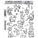 Stampers Anonymous - Tim Holtz - Cling Mounted Rubber Stamp Set - Mini Cats and Dogs Stamps