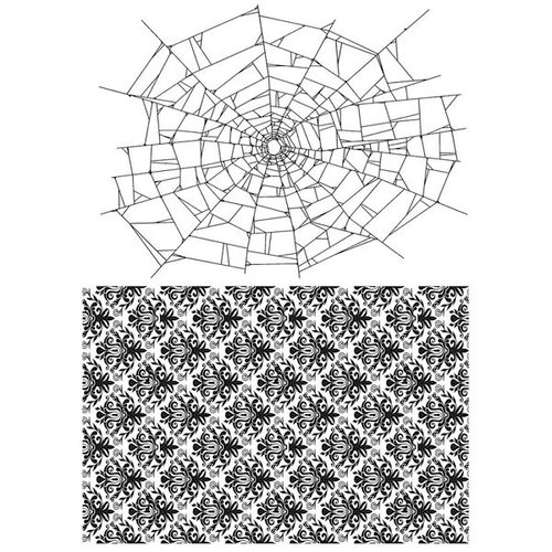 Stampers Anonymous - Tim Holtz - Halloween - Cling Mounted Rubber Stamp Set - Webs and Damask