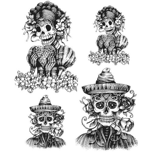 Stampers Anonymous - Tim Holtz - Halloween - Cling Mounted Rubber Stamp Set - Day Of The Dead 1