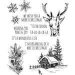Stampers Anonymous - Tim Holtz - Christmas - Cling Mounted Rubber Stamp Set - Scribble Woodland