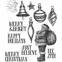 Stampers Anonymous - Tim Holtz - Christmas - Cling Mounted Rubber Stamp Set - Festive Sketch