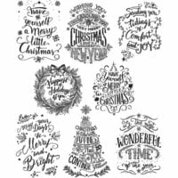 Stampers Anonymous - Tim Holtz - Christmas - Cling Mounted Rubber Stamp Set - Mini Doodle Greetings