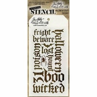 Stampers Anonymous - Tim Holtz - Halloween - Layering Stencil - Halloween Script