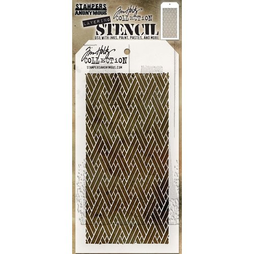 Stampers Anonymous - Tim Holtz - Layering Stencil - Woven
