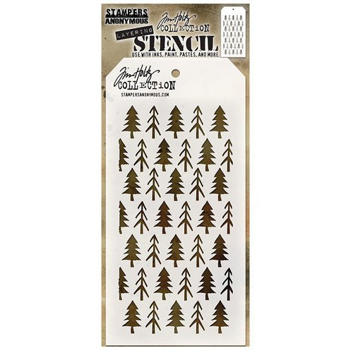 Stampers Anonymous - Tim Holtz - Christmas - Layering Stencil - Pines