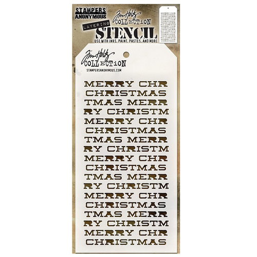 Stampers Anonymous - Tim Holtz - Christmas - Layering Stencil - Merry Christmas