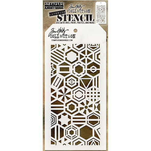 Stampers Anonymous - Tim Holtz - Layering Stencil - Patchwork Hex