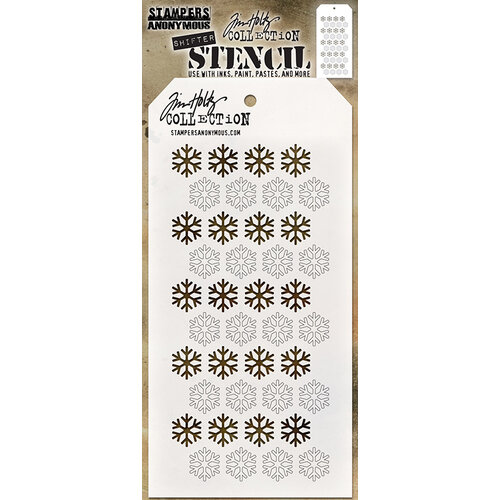 Stampers Anonymous - Christmas - Tim Holtz - Layering Stencil - Shifter Snowflake