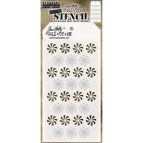 Stampers Anonymous - Christmas - Tim Holtz - Layering Stencil - Shifter Peppermint