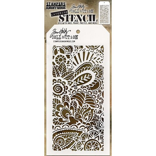 Stampers Anonymous - Tim Holtz - Layering Stencil - Doodle Art 1