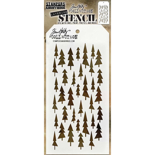 Stampers Anonymous - Tim Holtz - Layering Stencil - Christmas - Tree Lot