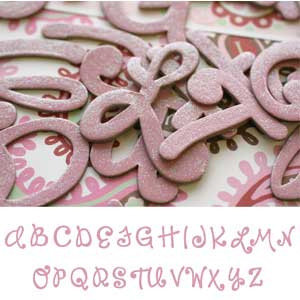 Scrapworks - Shimmer Shapes - Chipboard Letters - Risky Business - Pink, CLEARANCE