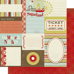 Scrap Within Reach - Carnival Ride Collection - 12 x 12 Double Sided Paper - Journaling Cards, CLEARANCE