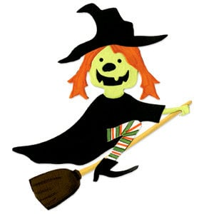 Sizzix - Bigz Die - Die Cutting Template - Halloween - Witch with Broom, CLEARANCE
