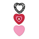 Sizzix - True Love Collection - Sizzlets Die - Die Cutting Template - 3 Pack - Medium - Stacking Lace Heart Set, CLEARANCE