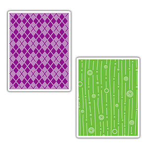 Sizzix - Textured Impressions - Embossing Folders - Argyle and Lines and Circles Set