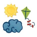 Sizzix - Sizzlits Die - Vacation Collection - Die Cutting Template - Medium - 3 Pack - Cloud Kite and Sun, CLEARANCE