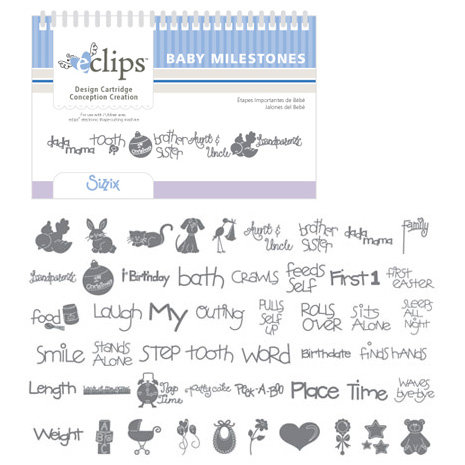 Sizzix - EClips - Electronic Shape Cutting System - Cartridge - Baby Milestones