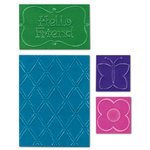 Sizzix - Textured Impressions - Embossing Folders - Hello Friend Set