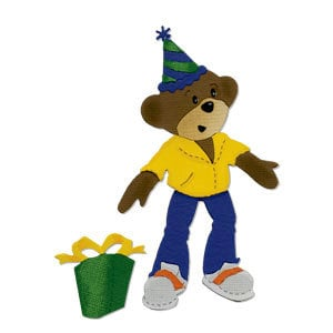 Sizzix - Bigz Die - Build-A-Bear Workshop Collection - Die Cutting Template - Party Bear Boy Body with Party Hat and Gift, CLEARANCE