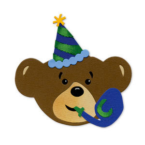 Sizzix - Bigz Die - Build-A-Bear Workshop Collection - Die Cutting Template - Party Bear Boy Head with Party Hat and Noisemaker