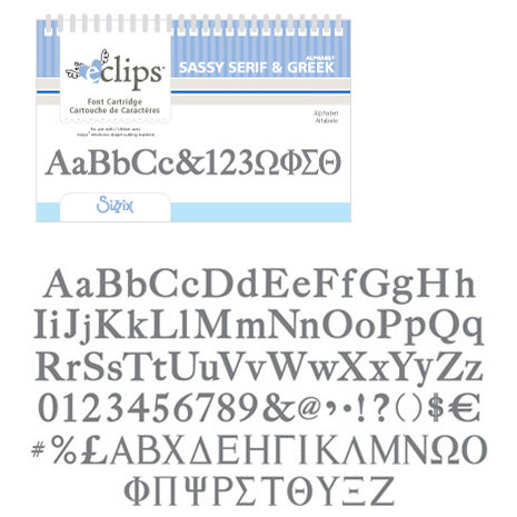 Sizzix - EClips - Electronic Shape Cutting System - Cartridge - Greek and Sassy Serif Alphabets