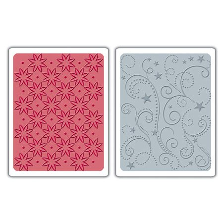 Sizzix - Textured Impressions - Embossing Folders - Flowers Stars and Swirls Set