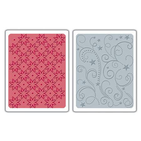 Sizzix - Textured Impressions - Embossing Folders - Flowers, Stars and Swirls Set