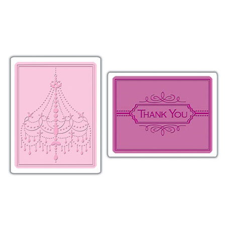 Sizzix - Textured Impressions - Embossing Folders - Chandelier and Thank You Set