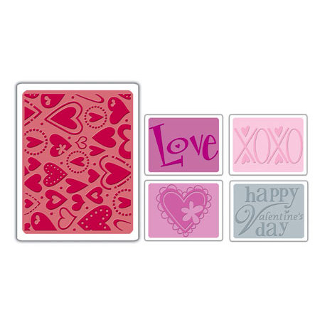 Sizzix - Textured Impressions - Embossing Folders - Valentine Set 3