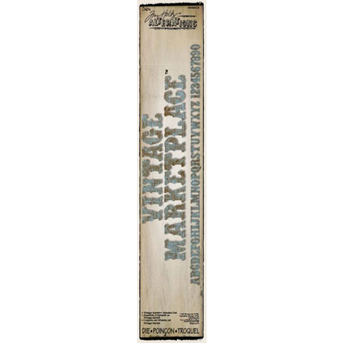 Sizzix - Tim Holtz - Alterations Collection - Sizzlits Decorative Strip Alphabet Die - Vintage Market