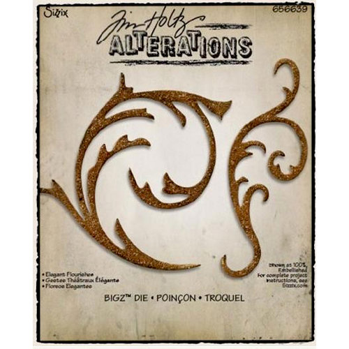 Sizzix - Tim Holtz - Bigz Die - Alterations Collection - Die Cutting Template - Elegant Flourishes