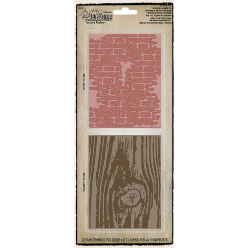 Sizzix - Tim Holtz - Texture Fades - Alterations Collection - Embossing Folders - Bricked and Woodgrain Set