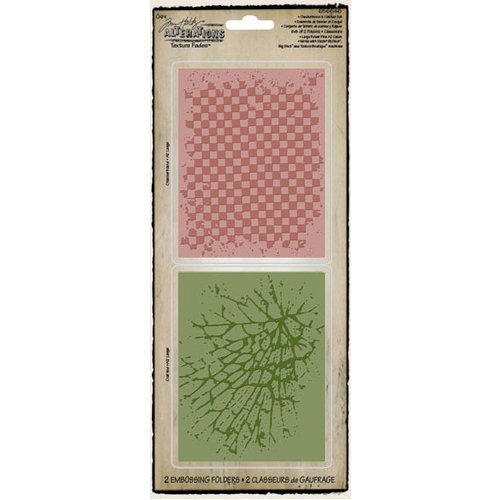 Sizzix - Tim Holtz - Texture Fades - Alterations Collection - Embossing Folders - Checkerboard and Cracked Set