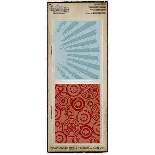 Sizzix - Tim Holtz - Texture Fades - Alterations Collection - Embossing Folders - Rays and Retro Circles Set