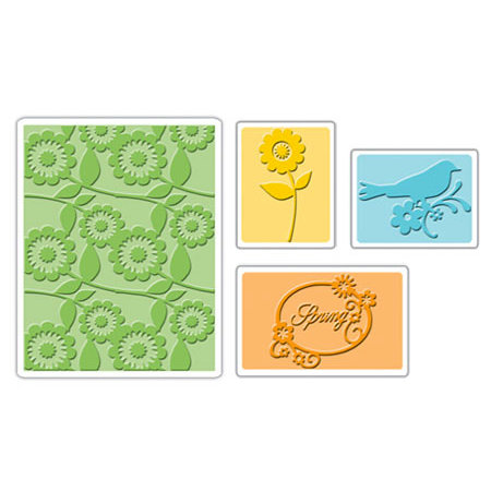 Sizzix - Textured Impressions - Embossing Folders - Spring Bird and Flowers Set
