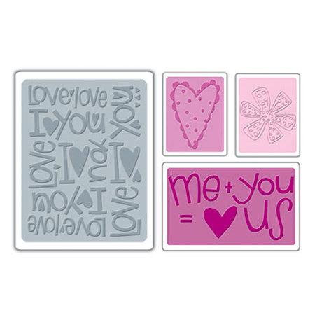 Sizzix - Textured Impressions - Embossing Folders - Love Set 2
