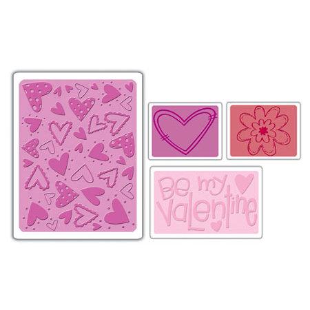 Sizzix - Textured Impressions - Embossing Folders - Valentine Set 4