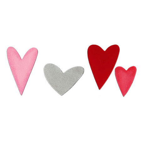 Sizzix - Sizzlits Die - Valentine Collection - Die Cutting Template - Medium - Heart Set 2