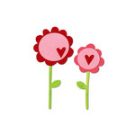 Sizzix - Bigz Die - Valentine Collection - Die Cutting Template - Flowers with Stems, Leaves and Heart