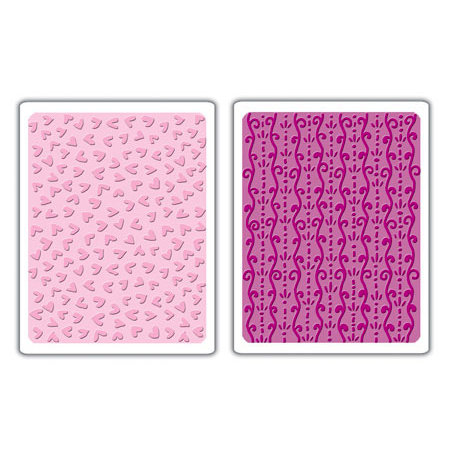 Sizzix - Textured Impressions - Embossing Folders - Curlique and Hearts Set