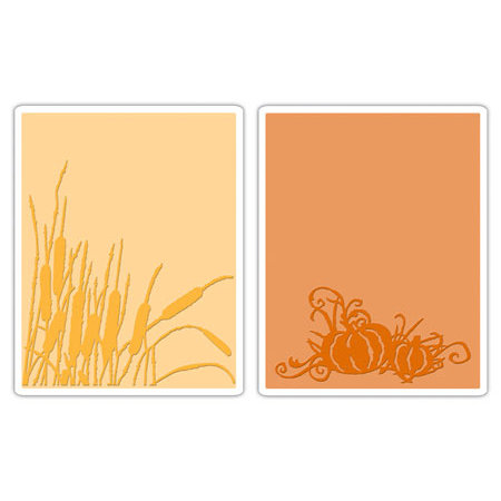 Sizzix - Tim Holtz- Texture Fades - Alterations Collection - Embossing Folders - Cattails and Pumpkin Patch