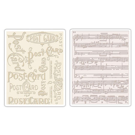 Sizzix - Tim Holtz - Texture Fades - Alterations Collection - Embossing Folders - Postcard and Sheet Music