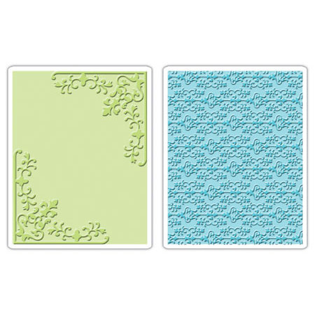 Sizzix - Textured Impressions - Embossing Folders - Corners and Damask Set