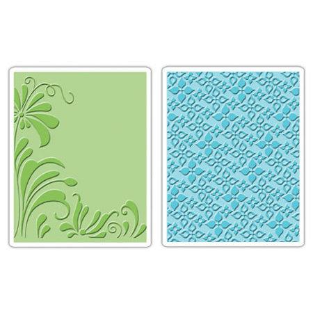 Sizzix - Textured Impressions - Embossing Folders - Flowers and Flourish Set