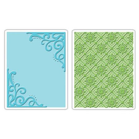 Sizzix - Textured Impressions - Embossing Folders - Corners and Lattice Set