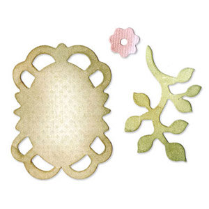 Sizzix - Originals Die - Jewelry - Die Cutting Template - Medium - Frame, Leaves and Flower