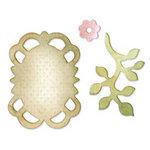 Sizzix - Originals Die - Jewelry - Die Cutting Template - Medium - Frame, Leaves and Flower