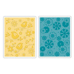 Sizzix - Textured Impressions - Stationery Collection - Embossing Folders - Birds and Flowers Set